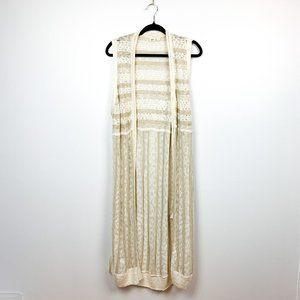 GAP Long Length Summer Sleeveless Striped Cardigan